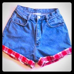 Super high waist VTG denim flannel cuff shorts, 25